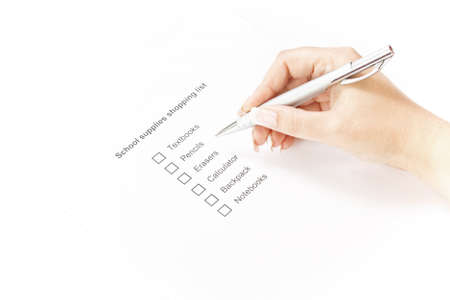 Close up of school supplies shopping list Stock Photo - 15127388