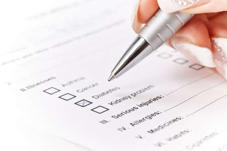 questionaire: Close up of a medical history questionaire