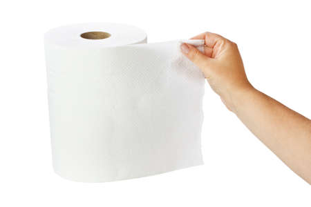 White paper towel roll isolated on white photo