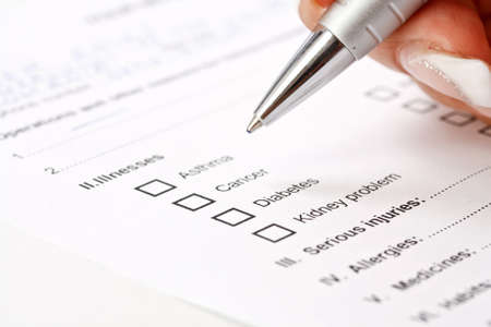 diagnosis: Close up of a medical history questionaire  Stock Photo
