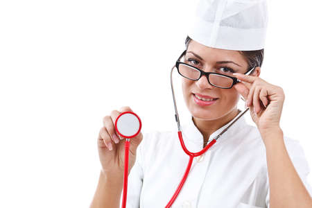 portrait of a young woman doctor with stethoscope  photo