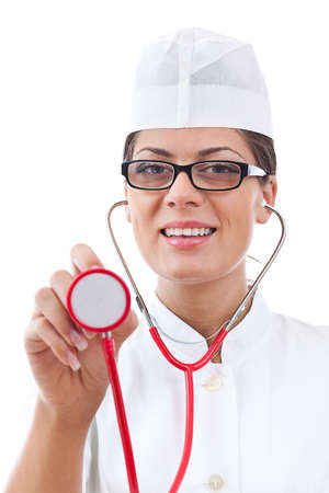 portrait of a attractive woman doctor with stethoscope  photo