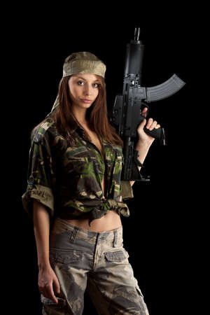 camos: Military Army girl Holding Gun black isolated background