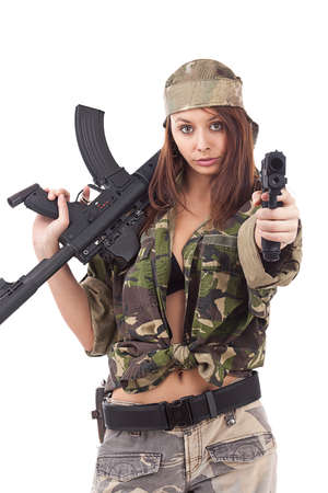 camouflage woman: Young woman soldiers posing with guns, isolated on white background