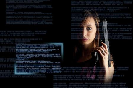 Cyber attack, cyber terrorism, cybercrime concept.  photo