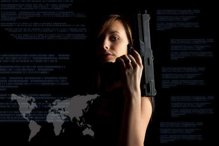 cyber terrorism: Woman in black background with gun, cyber attack, cyber terrorism, cybercrime concept.