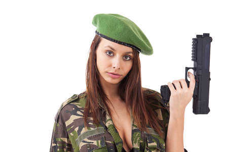 military uniform: Woman soldiers with guns in green hat, isolated on white background