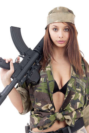 camos: Beautiful woman with rifle, isolated on white