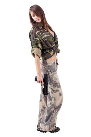 camos: Military Army girl Holding Gun white isolated background  Stock Photo