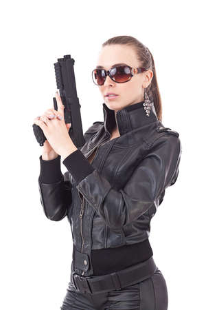 cops: A beautiful police detective woman on the job with a gun  Stock Photo