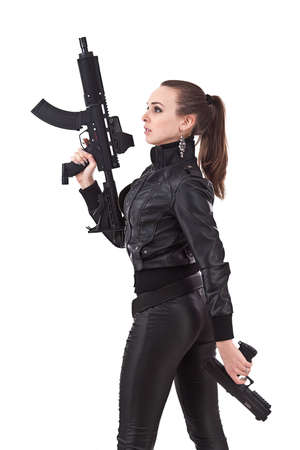 Attractive young women holding weapons.