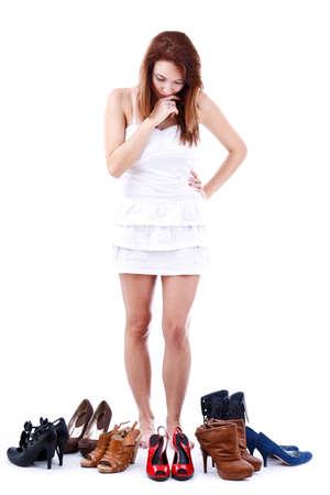 Junge Frau durch Schuhe umgeben Standard-Bild - 15388628