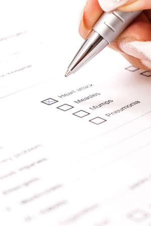 Close up of a medical history questionaire  Stock Photo - 15571793