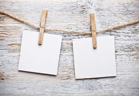 antique paper background: Notice card, white paper and wood clip