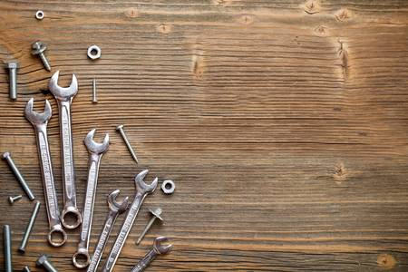 mechanic tools: Stainless steel wrench set and bolt Stock Photo