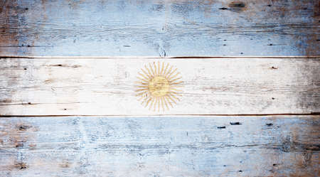 painted wood: Flag of Argentine painted on grungy wood plank background