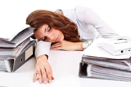 working place: Businesswoman sleeping on working place
