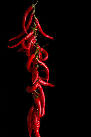 chilli: String of fresh peppers hanging on black background Stock Photo