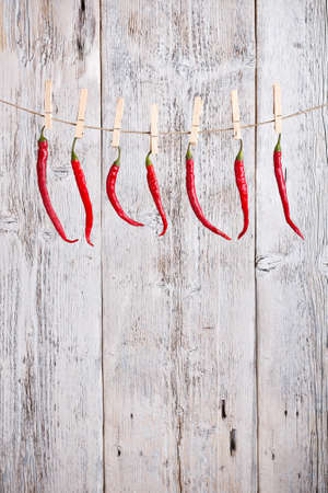 Red hot peppers pending on clips Stock Photo - 16024678
