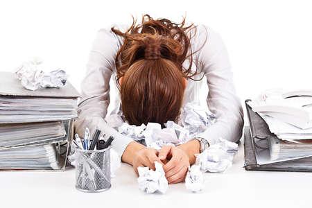 secretaria: Cansado de negocios y exhousted mujer con ringbinders Foto de archivo