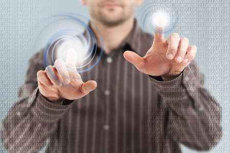 Businessman using futuristic interface, digital concept Stock Photo - 16216317