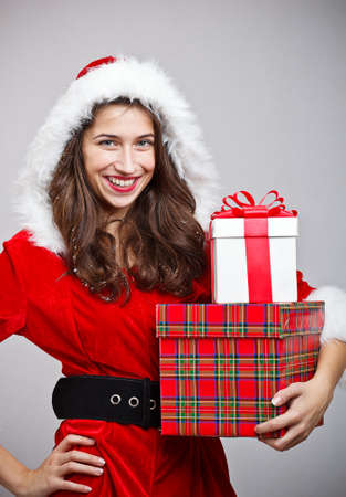 Santa girl with gift box  photo