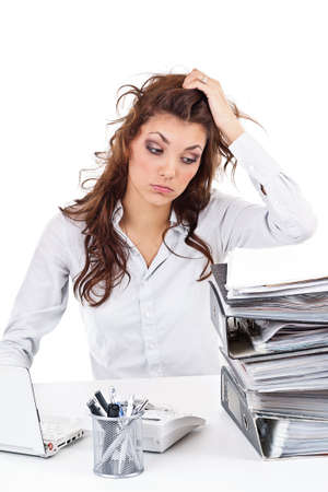 appointee: Tired businesswoman with paperwork