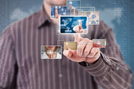 Businessman using futuristic interface, digital concept Stock Photo - 16389365