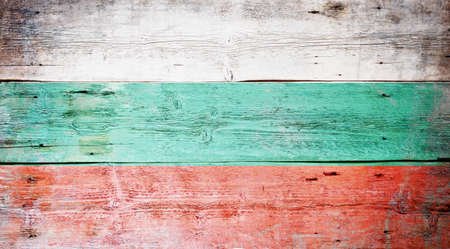 Flag of Bulgaria painted on grungy wood plank background  Stock Photo - 16569024
