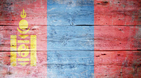 Flag of Mongolia painted on grungy wood plank background Stock Photo - 16571087