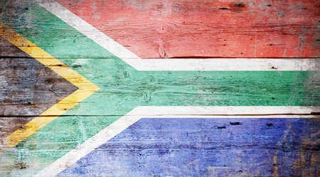 Flag of South Africa painted on grungy wood plank background Stock Photo - 16563006
