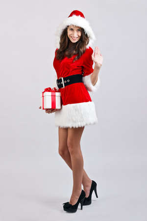 Christmas girl with gift box present Stock Photo - 16639795
