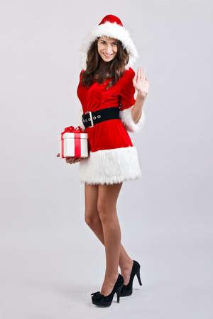 Christmas girl with gift box present Stock Photo - 16639795