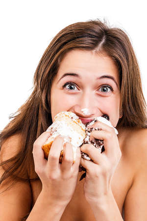 Teen girl eating the cake Stock Photo - 16800379