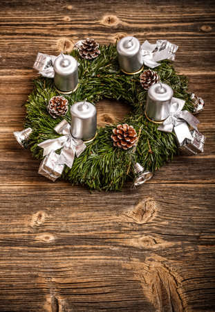 Advent wreath with silver candles  Stock Photo