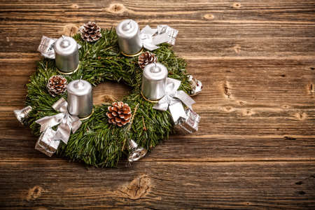 adventskranz: Advent wreath with silver candles  Stock Photo