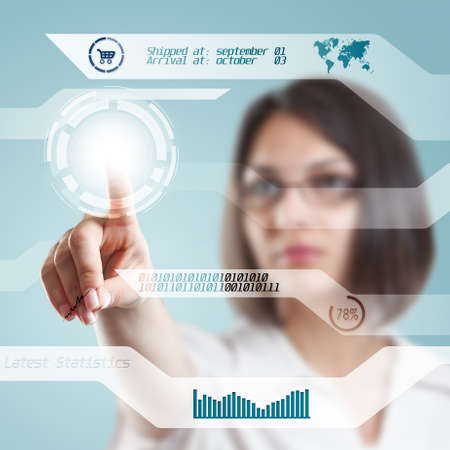 Young businesswoman with interface, digital concept  photo