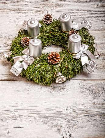 Closeup shot of an advent wreath  Stock Photo