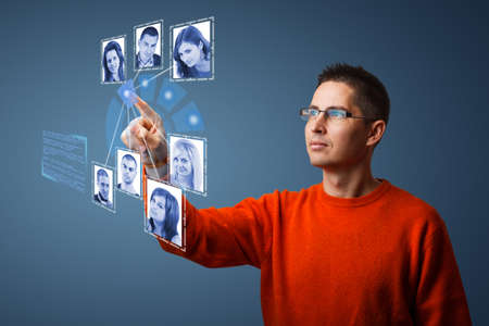 Social network structure in digital futuristic blue background Stock Photo - 17157841