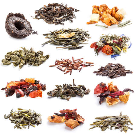 pu: Tea leaves collection on white background