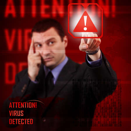 Computer security concept, virus detected photo