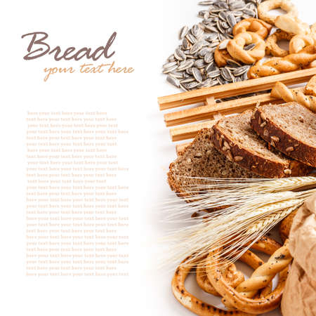 Assortment of baked goods with space for text