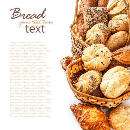 french bakery: Composition with bread and rolls on white  Stock Photo