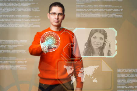 Young man using digital interface to communicate  photo