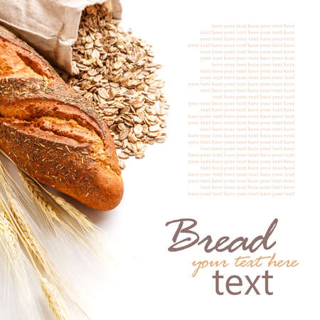 french loaf: Bread from rye and wheat flour on white Stock Photo