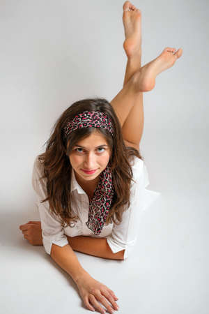 Studio fashion portrait of beautiful young woman  photo
