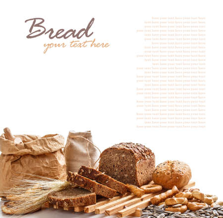 Composition with bread on white