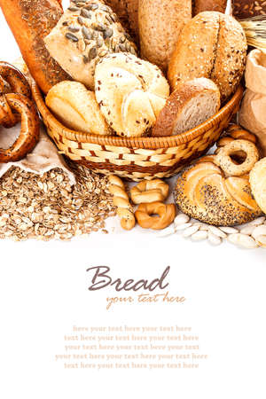 Composition with bread and rolls in wicker basket  photo