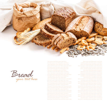 french bakery: Different types of bread with space for text