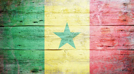 Flag of Senegal painted on grungy wood plank background  photo